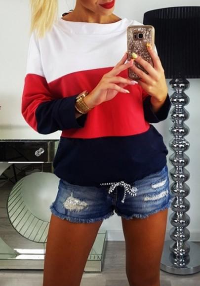 Sweat-shirt bloc de couleur découpé col rond manches longues décontracté femme blanc
