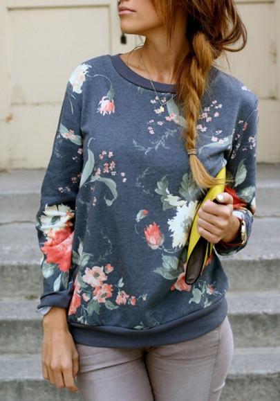 La camiseta estampado floral cuello rojoondo manga larga jersey casuales azul