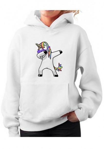 Sweatshirt poches imprimées de licorne décontractées pull à capuche blanches