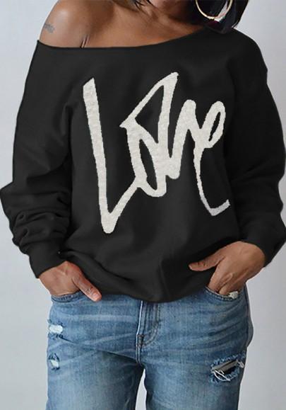 Sweat-shirt love imprimé une épaule manches longues décontracté lâche femme noir