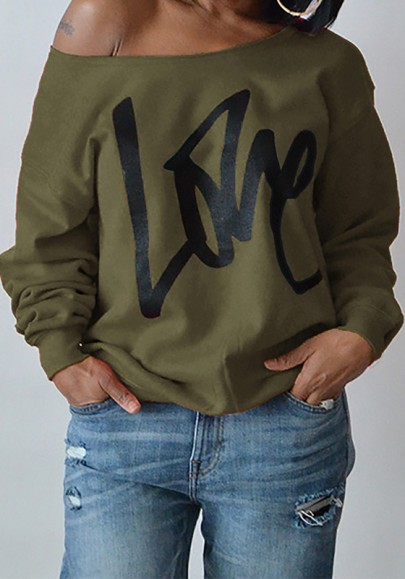 Army Green Love Letter One-Shoulder Round Neck Long Sleeve Fashion Sweatshirt