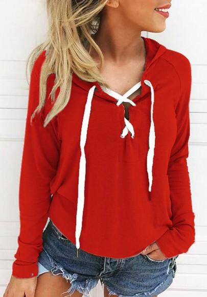 La camiseta cordón con capucha manga larga suéter de moda rojo