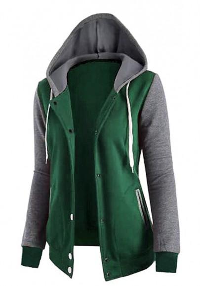 Grüne Knöpfen Taschen Kordelzug Pullover Mit Kapuze Sweatjacke Hoodie Damen Mode