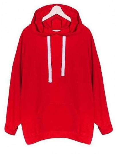 Rot Taschen Tunnelzug Langarm Oversize Lässige Hoodie Pullover Sweatshirt Damen Sweatshirtkleid mit Kapuze