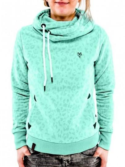 Sweatshirt léopard à capuche col bénitier roulé manches longues décontracté femme naketano pull vert clair