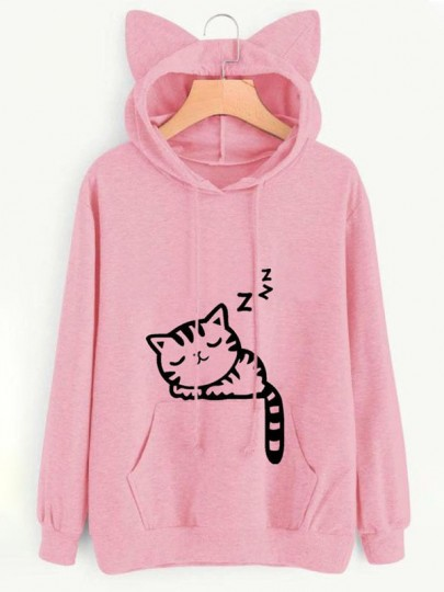Sweat-shirt chat imprimé chat oreilles cordon poches mignon à capuche rose