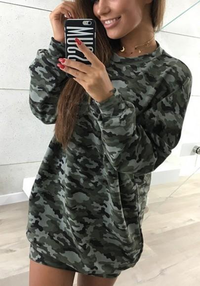 Grün Camouflage Rundhals Langarm Oversize Long Pullover Sweatshirt T-shirt Top Oberteile Damen