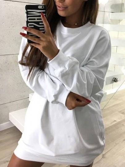 Weiß Rundhals Langarm Lässige Pullover Minikleid Pulloverkleid Longpulli Damen Mode Günstige