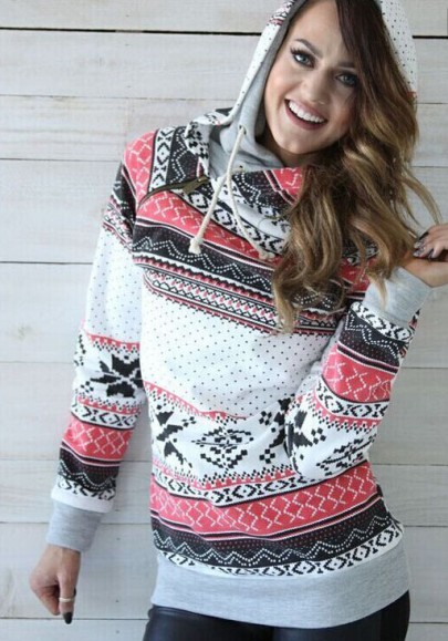 White Christmas Print Zipper Drawstring Cowl Neck Hooded Casual Pullover Sweatshirt