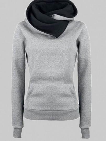 Grey Pockets Long Sleeve Cowl Neck Hooded Casual Pullover Sweatshirt