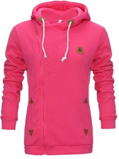 Rose Carmine Taschen Seitliche Reißverschluss Langarm Cowl Neck Tunnelzug Pullover mit Kapuze Hoodie Damen Sale