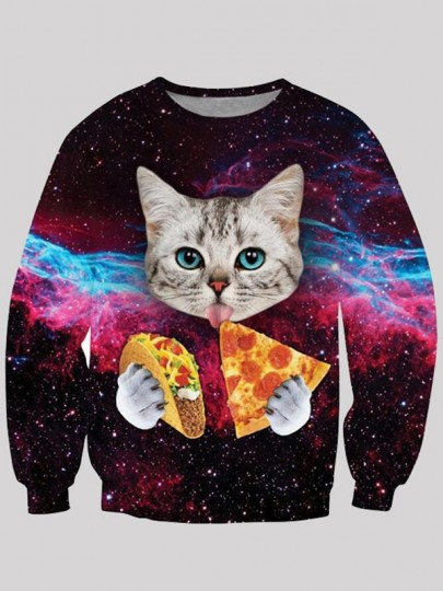 Sweatshirt chat manger pizza motif galaxy col ronde manches longues humour femme pull mulit