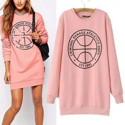 Pink Monogram Round Neck Fashion Pullover Sweatshirt