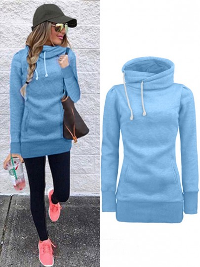 Blue Drawstring Pockets Irregular Collar Long Sleeve Fashion Pullover Sweatshirt