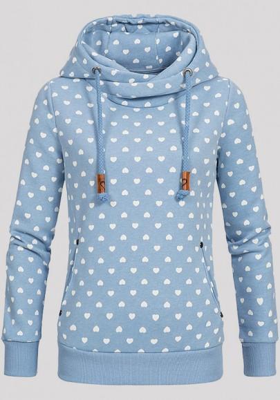 Light Blue Love Print Badge Drawstring Pockets Long Sleeve Hooded Sweatshirt
