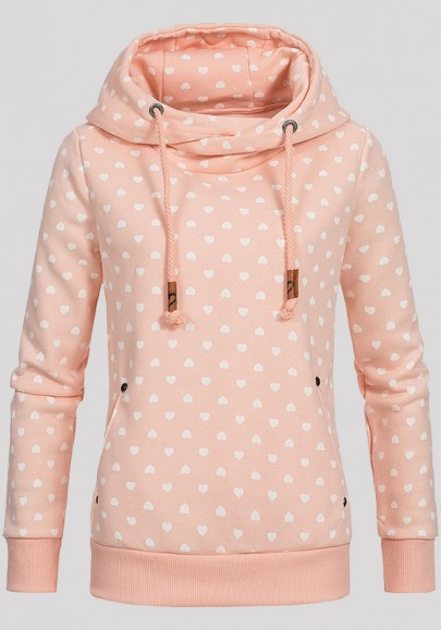 Light Pink Love Print Badge Drawstring Pockets Long Sleeve Hooded Sweatshirt