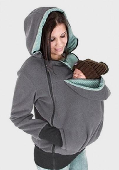 Grey Multi-functional Zipper Kangaroo Baby Bags Hooded Cardigan Sweatshirt