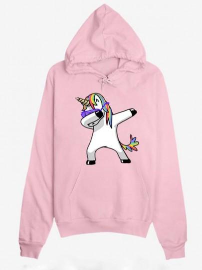 Sweatshirt poches à cordon de serrage imprimé licorne pull à capuche rose