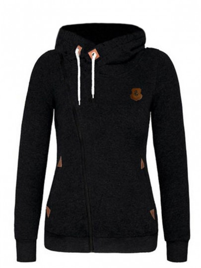 Black Drawstring Pockets Zipper Hooded Long Sleeve Casual Sports Pullover Sweatshirt