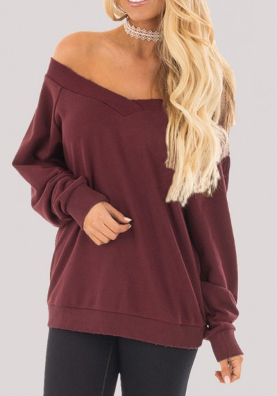 Date Red Off Shoulder Backless Casual Going out Pullover Sweatshirt