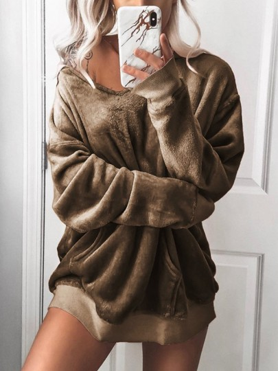 Khaki V-Ausschnitt Taschen Lässige Oversize Velvet Satin Sweatshirt Mit Kapuze Hoodie Damen Mode