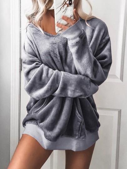 Grau V-Ausschnitt Taschen Lässige Oversize Damen Velvet Pullover Sweatshirt Mit Kapuze Hoodie