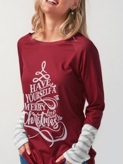 "Burgundy Monogram ""HAVE YOURSELF A MERRY CHRISTMAS"" Print Round Neck Long Sleeve Sweatshirt"