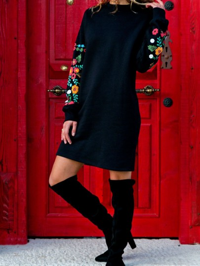 Black Floral Embroidery Round Neck Long Sleeve Casual Mexican Sweatshirt Mini Dress