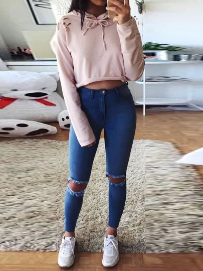 Pink Cut Out Lace-up Long Sleeve Fashion Pullover Hoodie Sweatshirt
