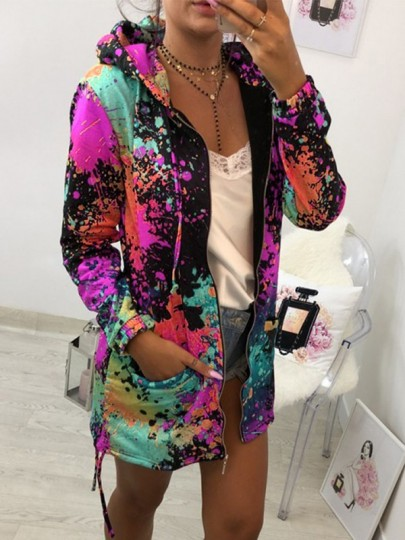 Rose Colorful Carmine Print Pockets Drawstring Fashion Cardigan Hoodie Sweatshirt
