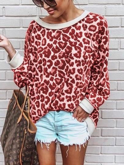 Rote Leopard Print One Shoulder Langarm Beiläufige Oversize Pullover Tops T-Shirt Oberteile Damen Mode