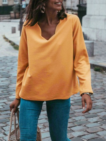 Yellow Single Breasted V-neck Long Sleeve Casual Sweatshirt