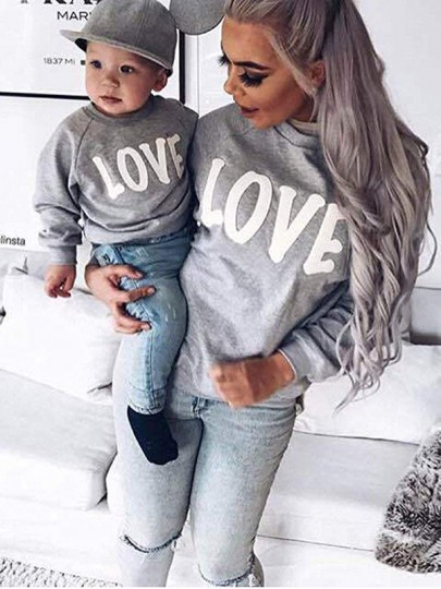 Grey Letter Print Round Neck Long Sleeve Going out Sweatshirt