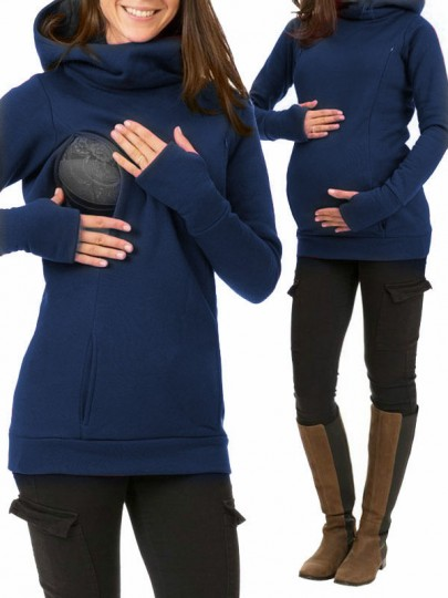 Blue Pockets Hooded Long Sleeve Casual Maternity Sweatshirt