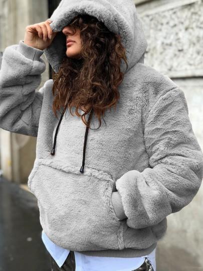 Grau Taschen Tunnelzug Hoodie Langarm Kuschelpullover Teddy Sweatshirt Mit Kapuze Damen