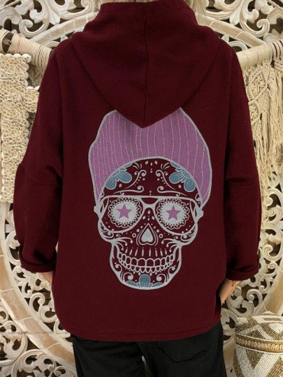 Red Patchwork Print Hooded Fashion Sweatshirt