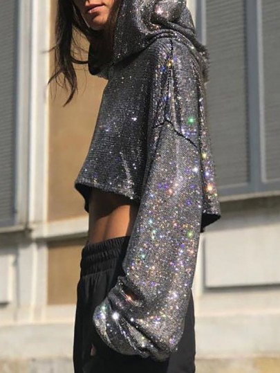 Silver Patchwork Sequin Bright Wire Glitter Sparkly Long Sleeve Crop Fashion Streetwear Hoodies Sweatshirts