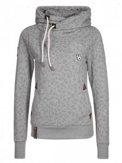 Grey Drawstring Pockets Print Hooded Long Sleeve Casual Sweatshirt