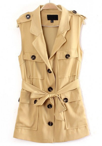 Khaki Patchwork Leopard Single Breasted Belt Blend Vest