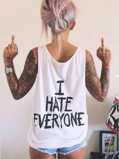 Weiß Monogramm I HATE EVERYONE Drucken Rundhals Ärmellos Tanktop Weste T-shirt Oberteile Damen Mode