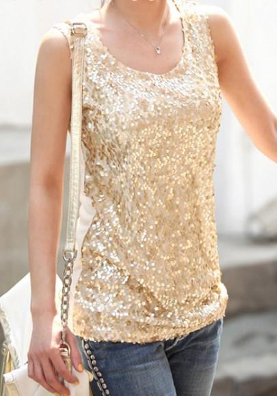 Golden Pailletten Rundhals Ärmellos T-Shirt Tops Große Größe Glitzer Oberteile Damen Mode