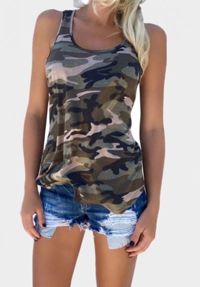 Army Green Camouflage Round Neck Fashion Thin Vest