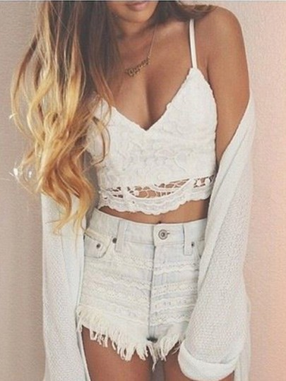 White Patchwork Lace Hollow-out Spaghetti Strap Crop Tie Back Vest