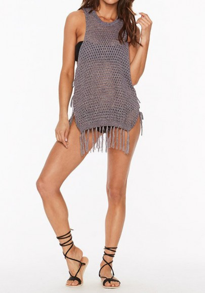 Grey Tassel Cut Out Hollow-out Lace-Up Round Neck Vest