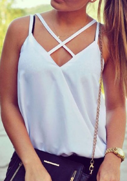 White Spaghetti Strap Cut Out Comfy Off-Shoulder Vest