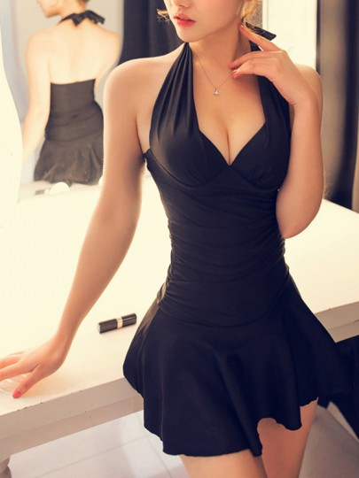 Black Pleated Tie Back Backless Halter Neck Swimwear