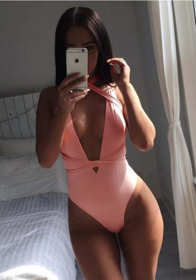 Pink Condole Belt Irregular Round Neck Casual Swimwear