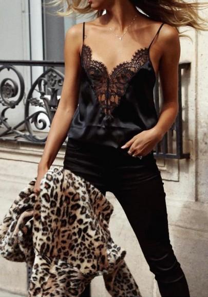 Black Patchwork Cut Out Lace Condole Belt Plunging Neckline Fashion Vest