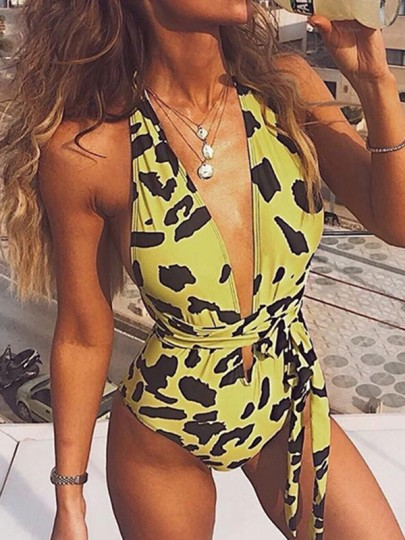 Yellow Leopard Cross Back Belt Deep V-neck Fashion Swimsuit