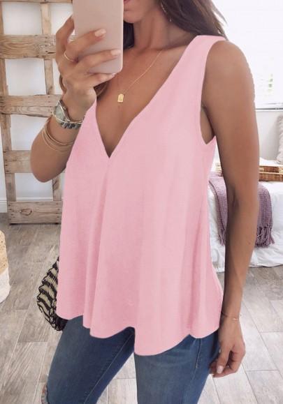 Pink Draped V-neck Fashion Vest